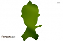 Funny Cartoon Kid Silhouette Illustration