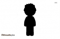 Black Cartoon Boy Silhouette Vector