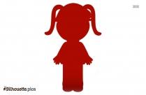 Little Cartoon Girl Vector Silhouette