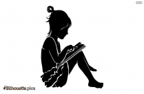 Little Girl Reading Silhouette Vector