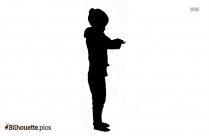 Little Girl Combing Hair Silhouette