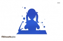 Little School Girl Silhouette Image And Vector