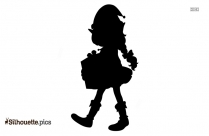 Little Girl With Christmas Gift Silhouette