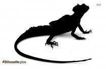 Black And White Running Lizard Silhouette
