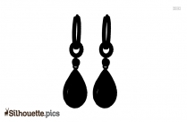 Long Hook Silver Earrings Silhouette