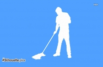 Man Cleaning Floor With Mop Drawing