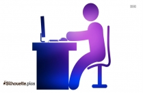 Man In Office Desk With Computer Free Technology Icons Silhouette