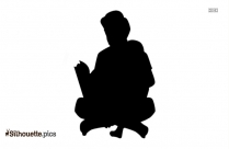 Young Man Reading Silhouette Image And Vector