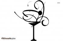 Cartoon Martini Glass Silhouette