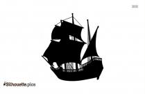 Black And White Cargo Ship Silhouette