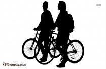 Woman With Bicycle Silhouette Free Vector Art