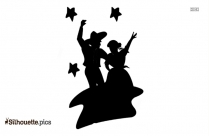 Disco Dancing Male Clip Art Silhouette