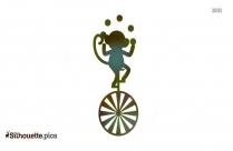 Monkey Juggling Cartoon Icons Silhouette
