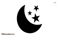 Moon And Stars Vector Logo Silhouette