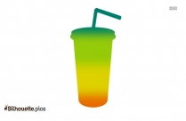 Multicolor Cup With Straw Silhouette