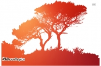 Nature In Red Clip Art, Silhouette Drawing