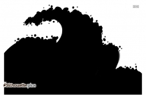 Ocean Waves Silhouette Clipart Image