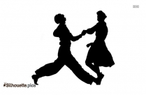 Old Couple Ball Dance Silhouette