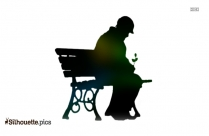 Old Man Sitting On The Bench Silhouette