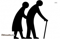 Old Parents Walking Silhouette