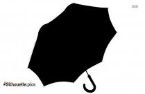 Black And White Cartoon Umbrella Silhouette