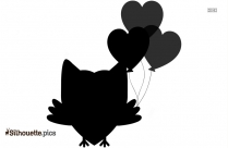 Owl With Heart Balloons Silhouette