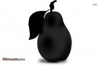 Black Pear Silhouette Image, Vector Art