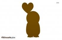 Cartoon Penguin In Love Silhouette
