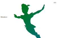 Peter Pan Flying Silhouette Clipart Image