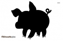 Cartoon Pig Walking Silhouette Clipart