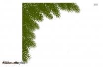 Pine Leaves Corner Border Silhouette