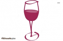 Pink Glass Of Wine Silhouette