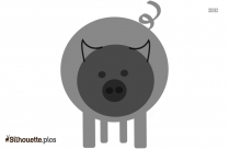 Happy Pig Animal Silhouette