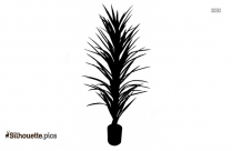 Potted Yucca Plant Silhouette Illustration