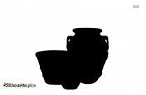Handmade Pottery Clip Art, Flared Neck Vase Silhouette