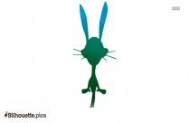 Black And White Cartoon Bunny Silhouette