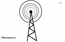 Radio Wave Telecommunications Tower Silhouette