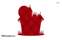 Red Haunted House Silhouette Image, Scary House Clipart