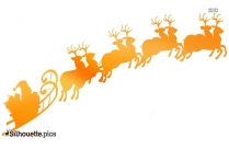 Santa Sleigh And Reindeer Silhouette, Clipart
