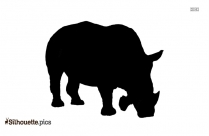 Two Horned Rhinoceros Silhouette Clipart