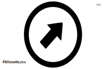Right Up Arrow In Circle Silhouette Art
