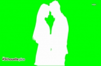 Romancing Couple Outline Clipart