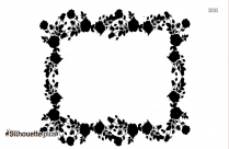 Rose Flower Border Drawing Silhouette
