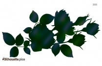 Rose Flower With Leaves Silhouette