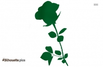 Long Rose Stem Clip Art, Flower Silhouette