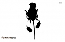 Red Rose With Long Stem And Leaves Silhouette