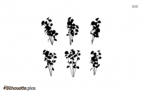 Row Of Flowers Silhouette, Vector Art