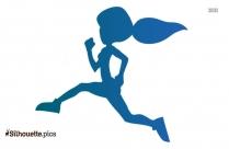 Running Girl Silhouette Vector Art