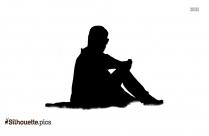 Sad Person Sitting Silhouette Vector