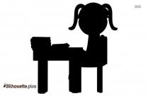 Girl Student At Desk Clipart Silhouette